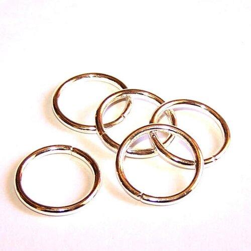 5 grands anneaux 20 mm plaqués argent 10 microns pour la création de bijoux