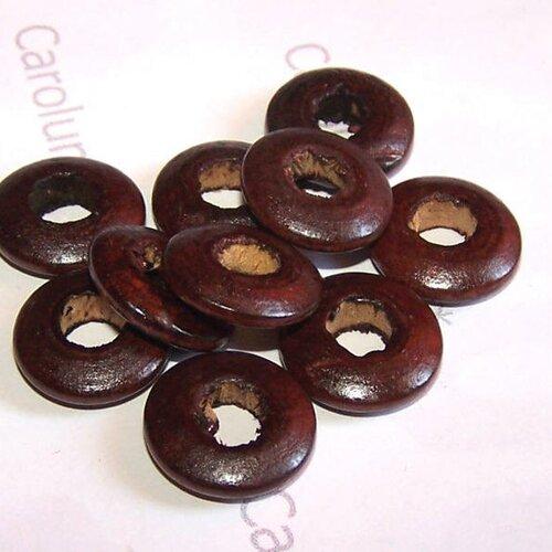 10 perles en bois donuts marrons foncées (formats perles européennes)