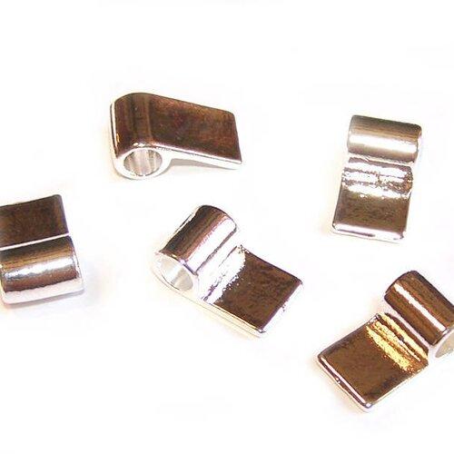 5 attaches rectangles 15x10 mm plaqué argent à coller pour la création de bijoux