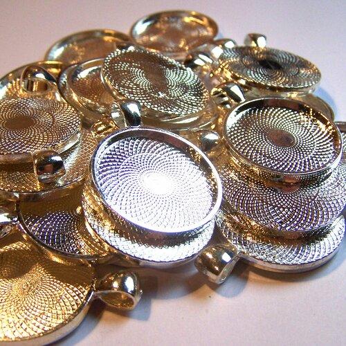 Lot promo 25 supports de pendentif rond 25 mm en métal argenté pour la création de bijoux