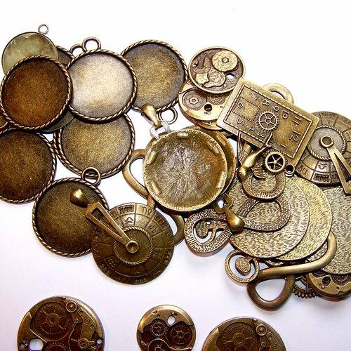 Liquidation lot 40 supports de cabochons et breloques métal bronze pour la création de bijoux