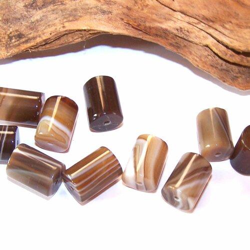 10 perles tubes de sardonyx 14 mm  pour la création de bijoux