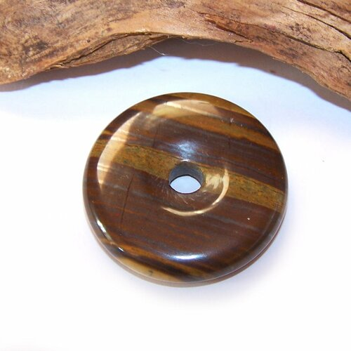 Donut œil de tigre verte 40 mm, pendentif, pierre, gemme