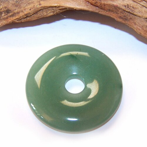 Donut en aventurine verte 40 mm, pendentif, pierre, gemme