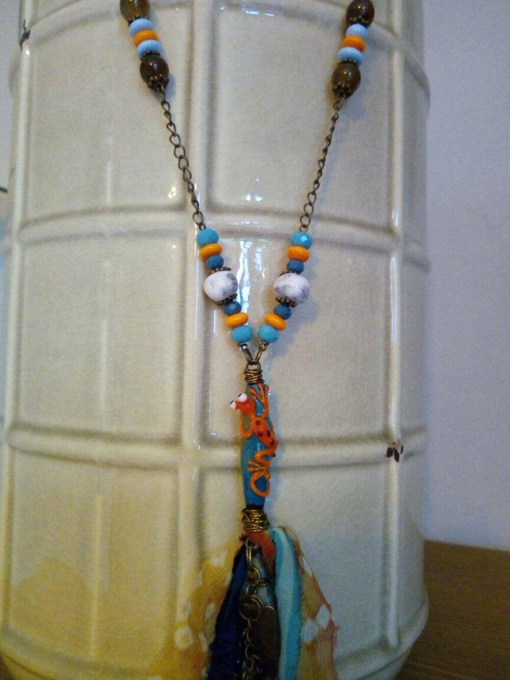 LA SALAMANDRE - sautoir bohème - perles en verre filé au chalumeau - soie de sari - métal bronze -