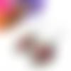 Boucles d'oreilles fleurs, boucles d'oreilles cabochons ovales 18x25 mm, papillon, verre, jaune, violet, rose, bleu