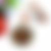 Collier fleurs, grand pendentif rond, perles de bohème, cristal swarovski, oeil de chat, agate orange, saphir, vert, rose et marron
