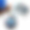 Collier hibou, collier cabochon, collier perles, pendentif rond, perles de bohème, cristal swarovski, nacre, oeil de chat, bleu, blanc
