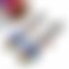 Boucles d'oreilles clips, boucles d'oreilles arbre, bleu, rouge, marron, vert, arbre, nature, cabochon ovale