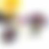 Collier cabochon, collier perles, collier violet, pendentif rond, abstrait, violet, jaune