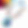 Collier cabochon, collier multicolore, collier perles, breloque, pendentif rond 25 mm, papillon