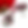 Collier cabochon, perles, pendentif rond 30mm, arbre de vie, noir, rouge, blanc