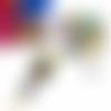 Collier cabochon, collier perles, seventies, ovale, verre, 18x25m, noir, jaune, fuchsia, bleu, vert émeraude