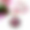 Collier, cabochon rond 30mm, motif fleur, perles de bohème, cristal swarovski, rose, marron et blanche