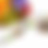 Collier perles, cabochon ovale verre 18x25mm, motif mandala, vert, violet, orange et jaune