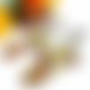 Boucles d'oreilles clip, boucles d'oreilles fleurs, tournesols, jaune, vert, marron, nature, bohème, cabochon ovale