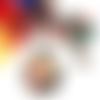 Collier hibou, collier cabochon, collier perles, pendentif rond, verre, perles de bohème, cristal swarovski, multicolore