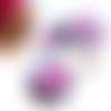 Collier arbre, collier perles, pendentif rond, cabochon 30mm, arbre, paysage, fuchsia, bleu