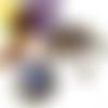 Collier fleur, collier cabochon, collier perles, pendentif rond, verre, perles de bohème, cristal swarovski, marron, violet, jaune
