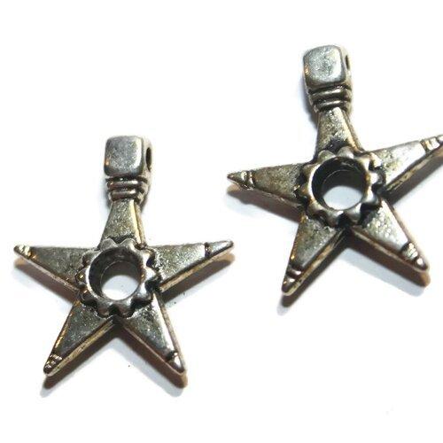 1 breloque étoile sheriff métal argenté