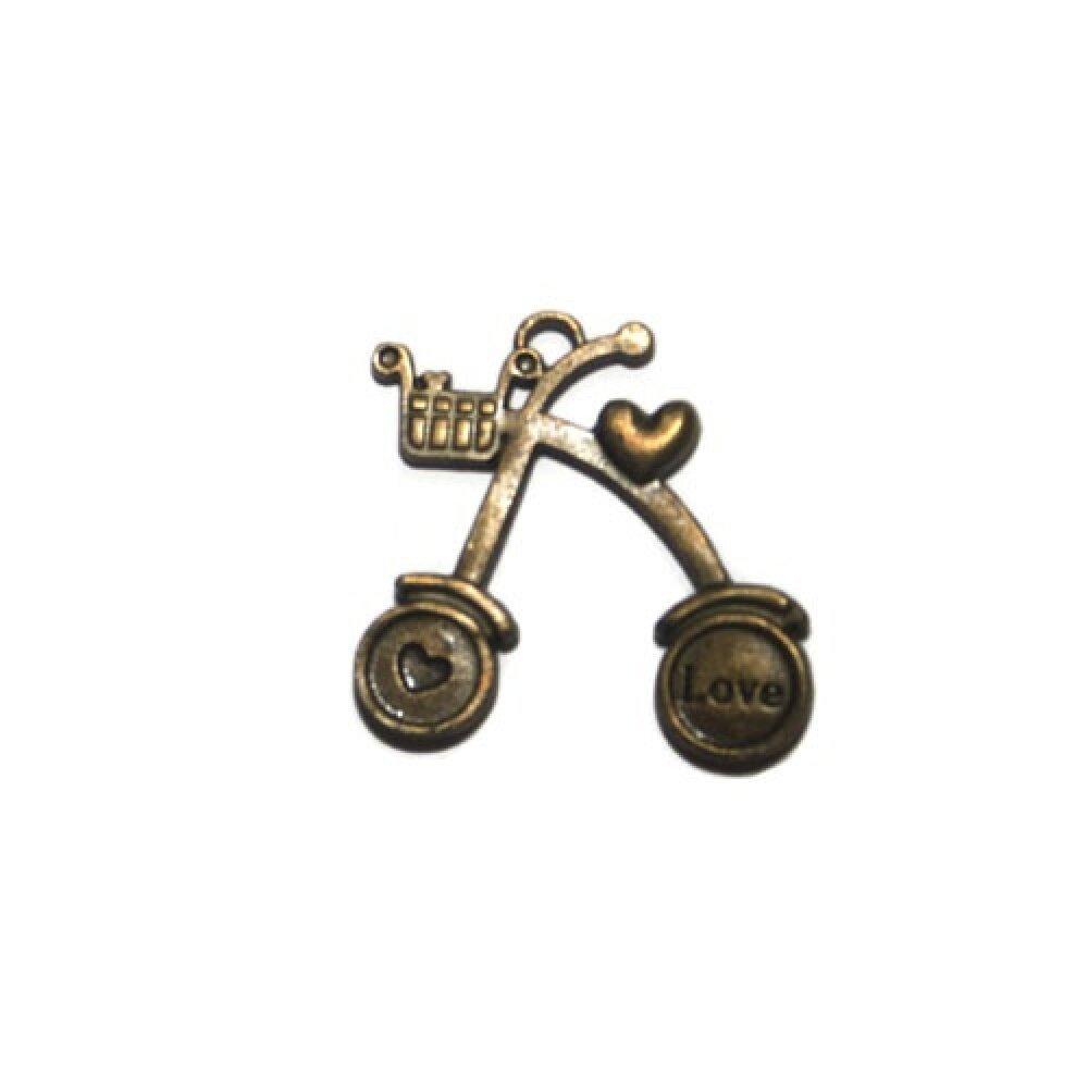 pendentif vélo love métal bronze