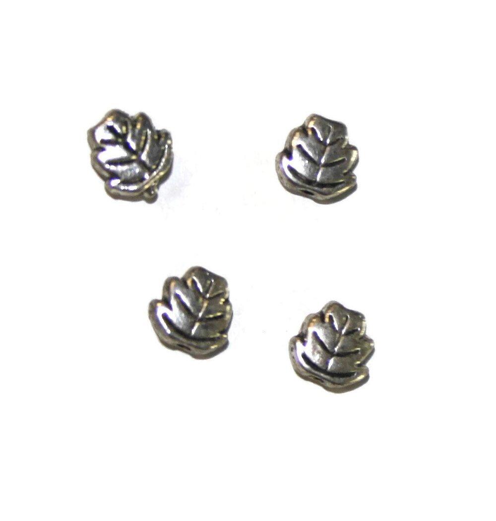 10 Perles feuilles métal argenté