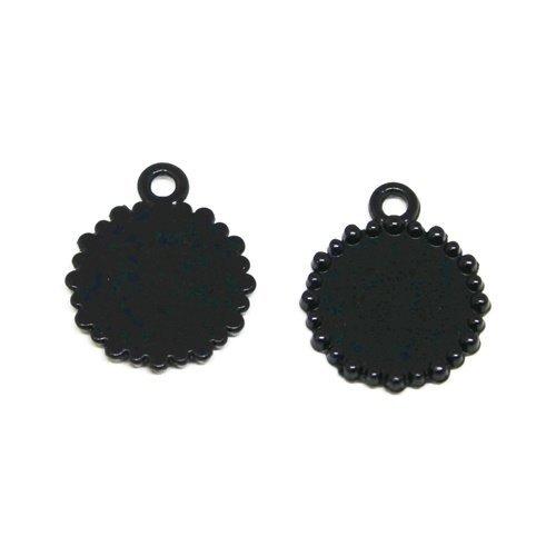 10 supports cabochon métal noir