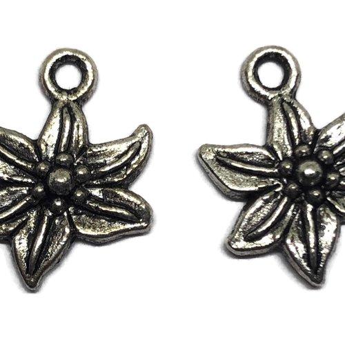 Breloque fleur métal argent