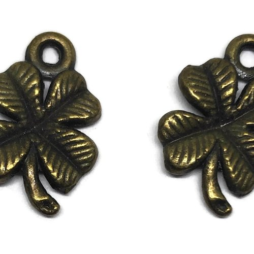 Breloque trèfle à 4 feuilles métal bronze