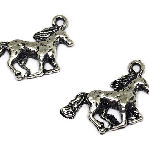 1 breloque cheval métal argent
