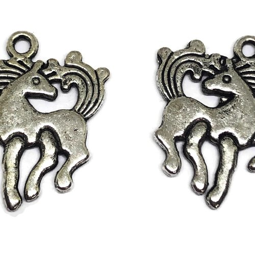 1 breloque licorne métal argent