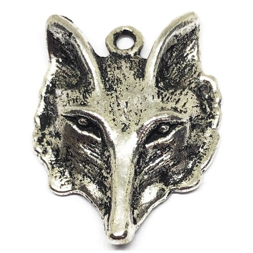 1 breloque renard métal argent