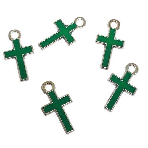 5 breloques croix métal et émail