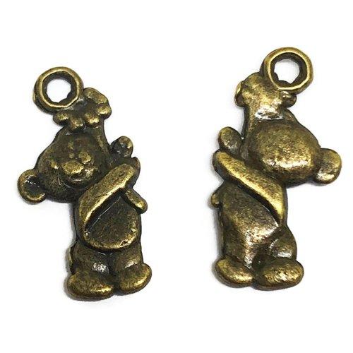 1 breloque nounours métal bronze