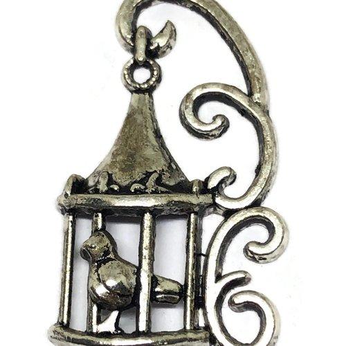 1 breloque oiseau en cage métal argent