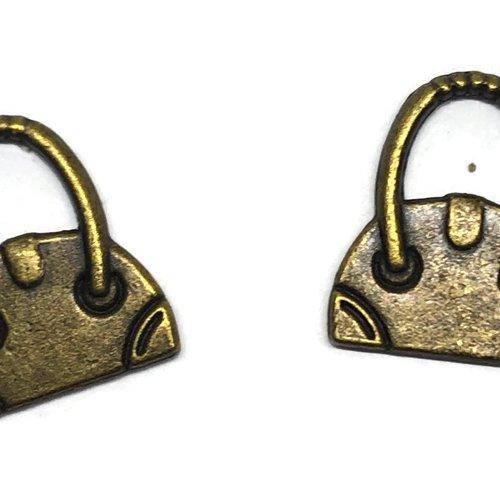1 breloque sac a main métal bronze