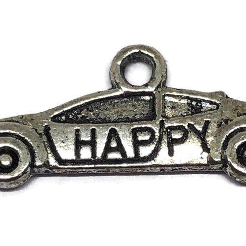 1 breloque voiture happy métal argenté