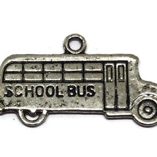 1 breloque bus école métal argenté