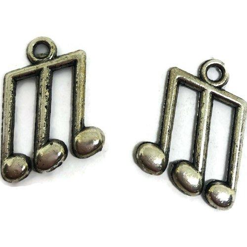 Breloque note musique métal argenté