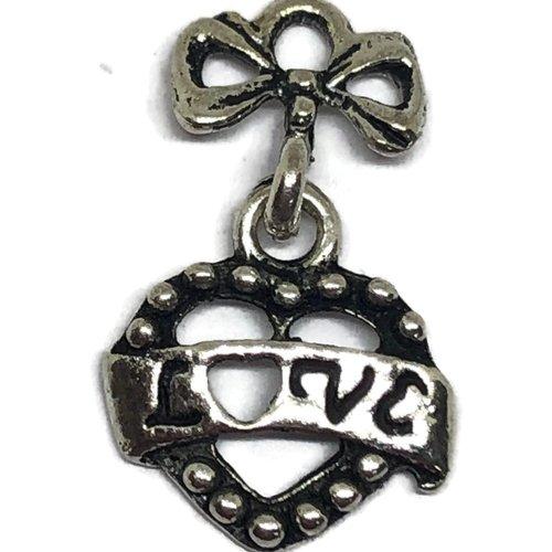 1 breloque coeur love métal argenté