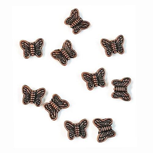 10 perles papillon métal cuivre