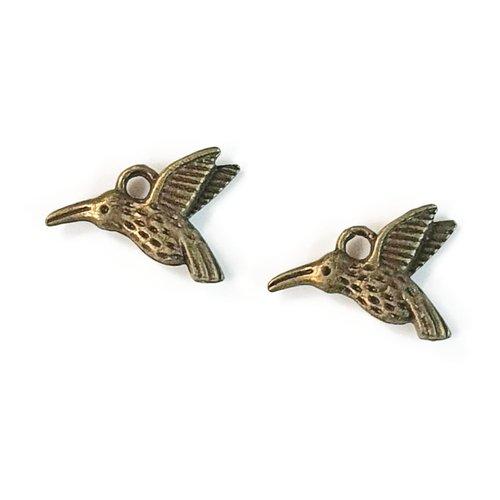 Breloque oiseau métal bronze