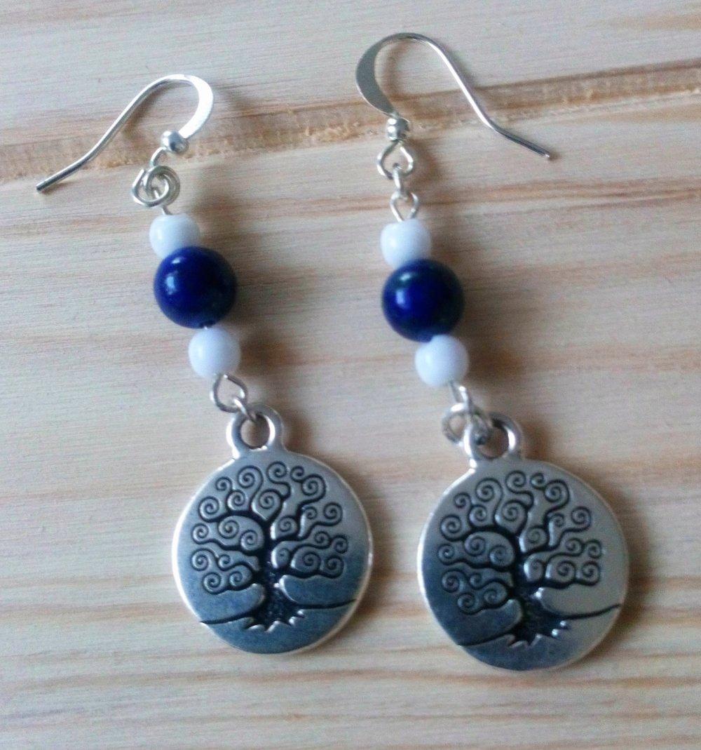 """Boucles d'oreilles """"Arbre de vie"""",perles gemme Lapis Lazuli,perles en verre"""