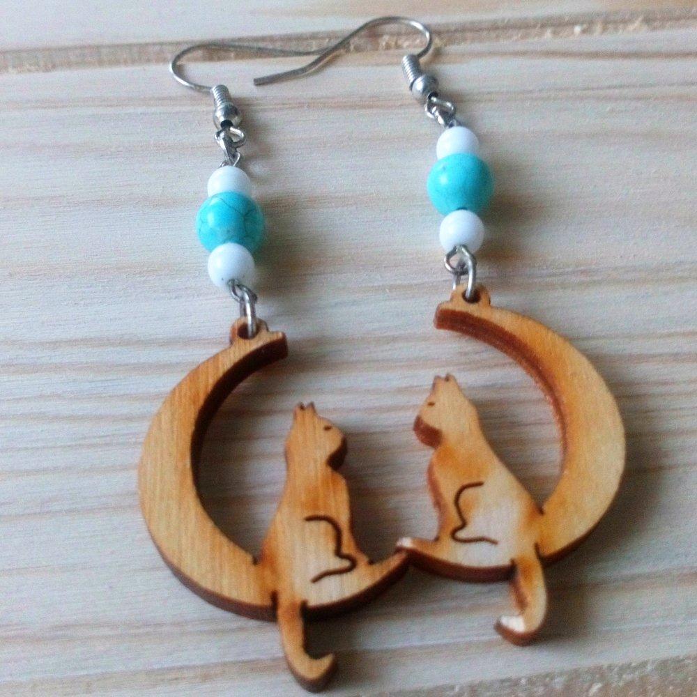 Boucles d'oreilles chat et Turquoise.