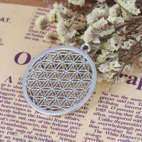 Pendentif  fleur de vie en métal argenté