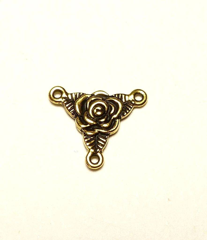Connecteur, rose en métal doré (à l'or fin 22 carats)