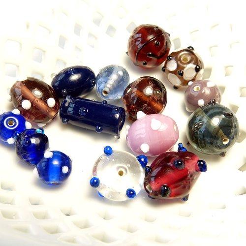 Perles indiennes en verre lampwork à picots, formes, tailles et couleurs variées x 15