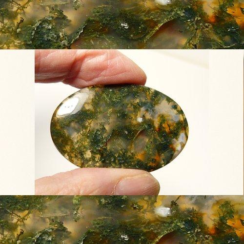 Cabochon pierre gemme en agate mousse de forme ovale