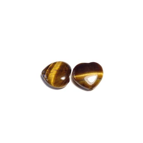 Perles pierre gemme en œil de tigre, forme cœur x 2