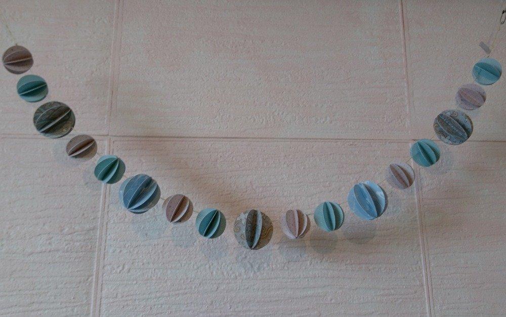 Guirlande boule - Bleue, pois & fleurs